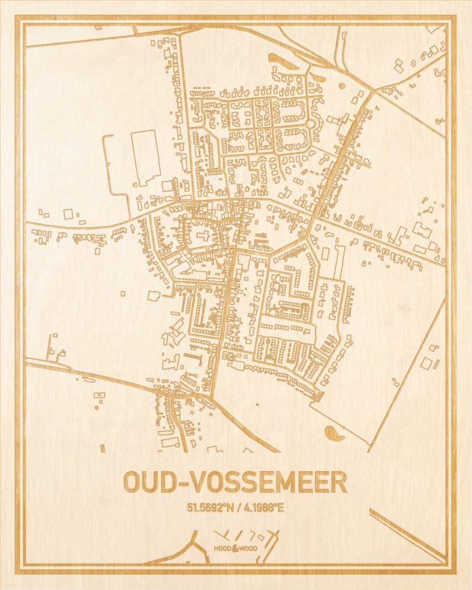 Het wegennet van de plattegrond Oud-Vossemeer gegraveerd in hout. Het resultaat is een prachtige houten kaart van een van de gezelligste plekken uit Zeeland voor aan je muur als decoratie.