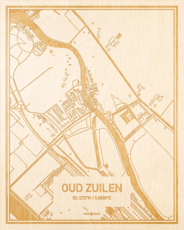 Het wegennet van de plattegrond Oud Zuilen gegraveerd in hout. Het resultaat is een prachtige houten kaart van een van de gezelligste plekken uit Utrecht voor aan je muur als decoratie.