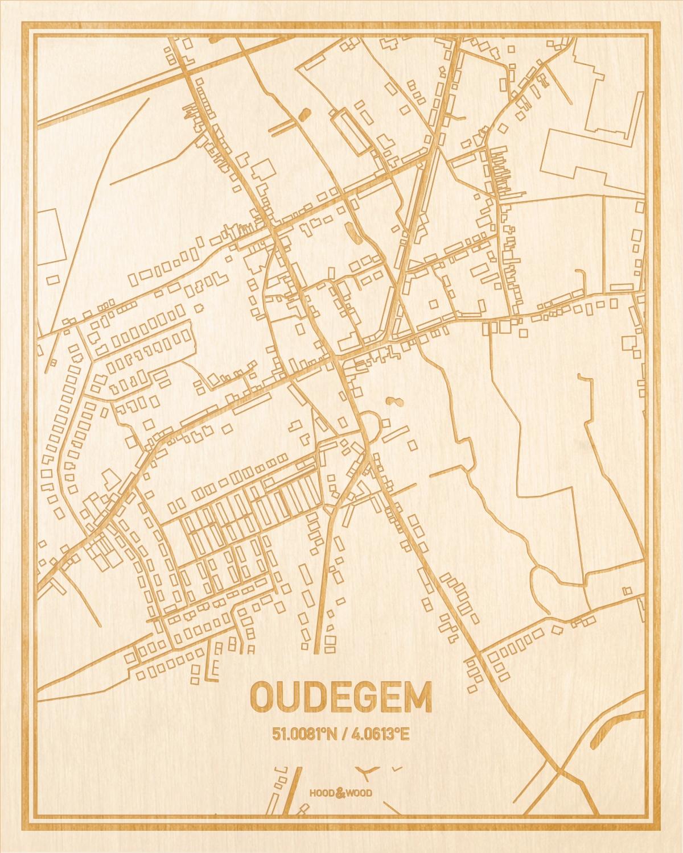 Het wegennet van de plattegrond Oudegem gegraveerd in hout. Het resultaat is een prachtige houten kaart van een van de beste plekken uit Oost-Vlaanderen  voor aan je muur als decoratie.