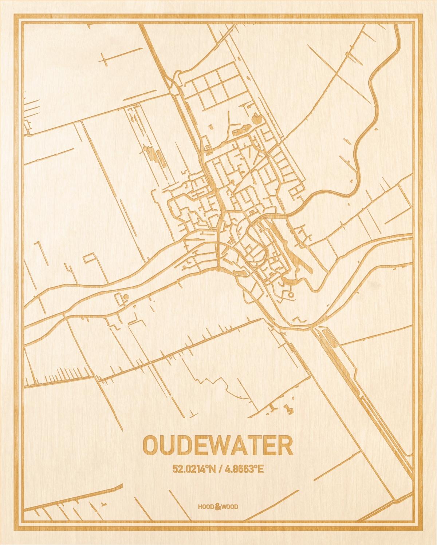 Het wegennet van de plattegrond Oudewater gegraveerd in hout. Het resultaat is een prachtige houten kaart van een van de charmantse plekken uit Utrecht voor aan je muur als decoratie.