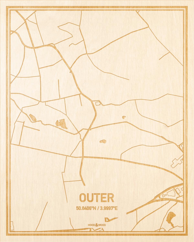 Het wegennet van de plattegrond Outer gegraveerd in hout. Het resultaat is een prachtige houten kaart van een van de charmantse plekken uit Oost-Vlaanderen  voor aan je muur als decoratie.