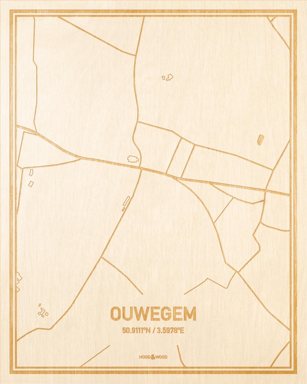Het wegennet van de plattegrond Ouwegem gegraveerd in hout. Het resultaat is een prachtige houten kaart van een van de mooiste plekken uit Oost-Vlaanderen  voor aan je muur als decoratie.