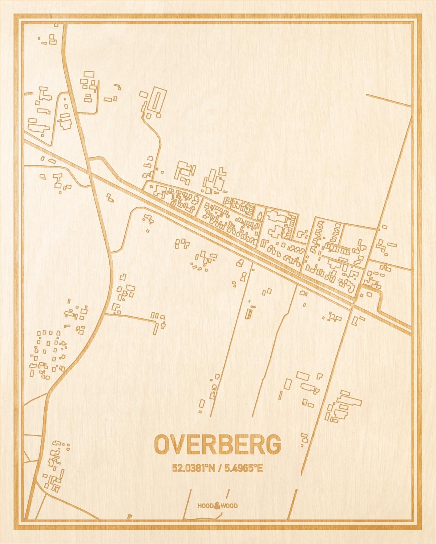 Het wegennet van de plattegrond Overberg gegraveerd in hout. Het resultaat is een prachtige houten kaart van een van de charmantse plekken uit Utrecht voor aan je muur als decoratie.