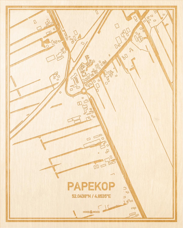 Het wegennet van de plattegrond Papekop gegraveerd in hout. Het resultaat is een prachtige houten kaart van een van de gezelligste plekken uit Utrecht voor aan je muur als decoratie.