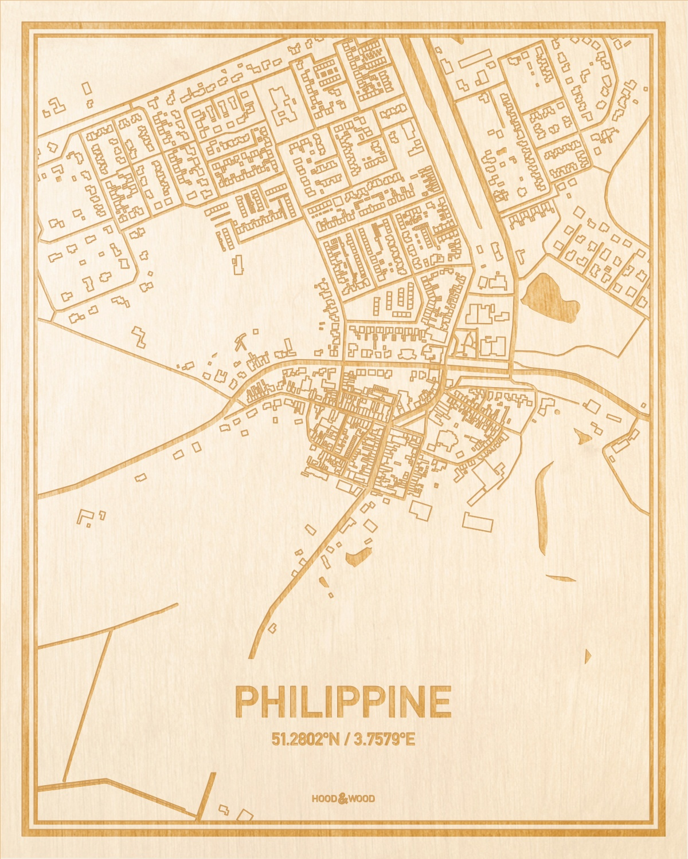 Het wegennet van de plattegrond Philippine gegraveerd in hout. Het resultaat is een prachtige houten kaart van een van de mooiste plekken uit Zeeland voor aan je muur als decoratie.