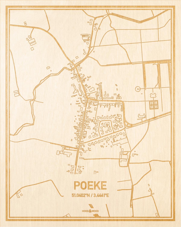 Het wegennet van de plattegrond Poeke gegraveerd in hout. Het resultaat is een prachtige houten kaart van een van de mooiste plekken uit Oost-Vlaanderen  voor aan je muur als decoratie.