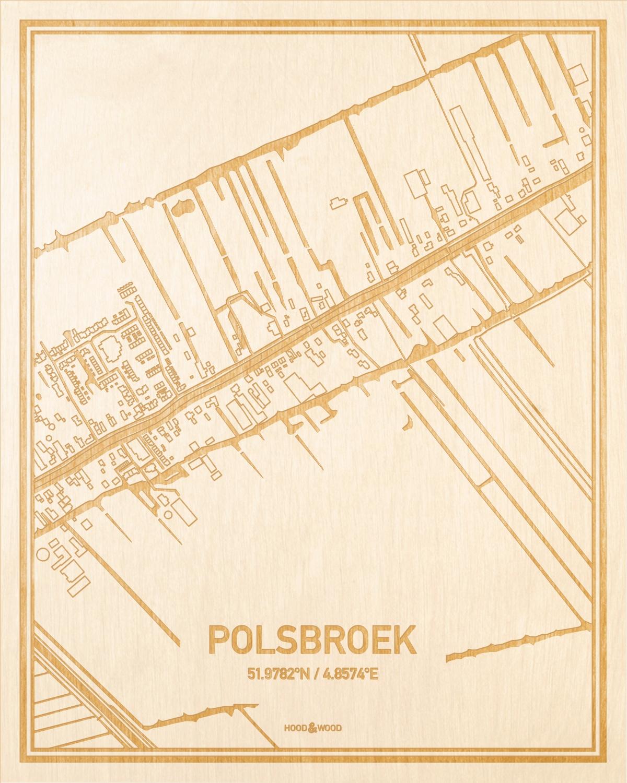Het wegennet van de plattegrond Polsbroek gegraveerd in hout. Het resultaat is een prachtige houten kaart van een van de gezelligste plekken uit Utrecht voor aan je muur als decoratie.