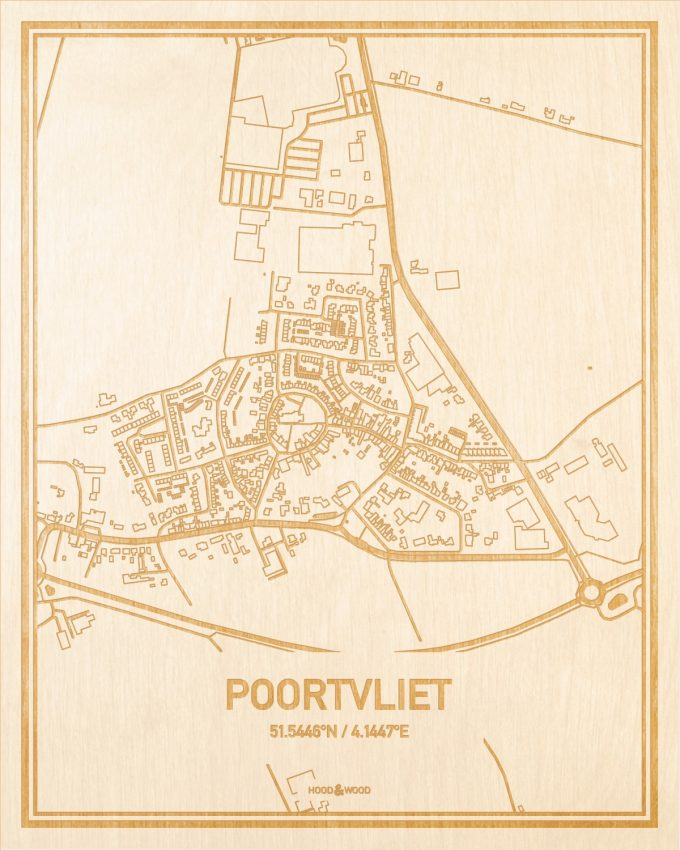 Het wegennet van de plattegrond Poortvliet gegraveerd in hout. Het resultaat is een prachtige houten kaart van een van de charmantse plekken uit Zeeland voor aan je muur als decoratie.