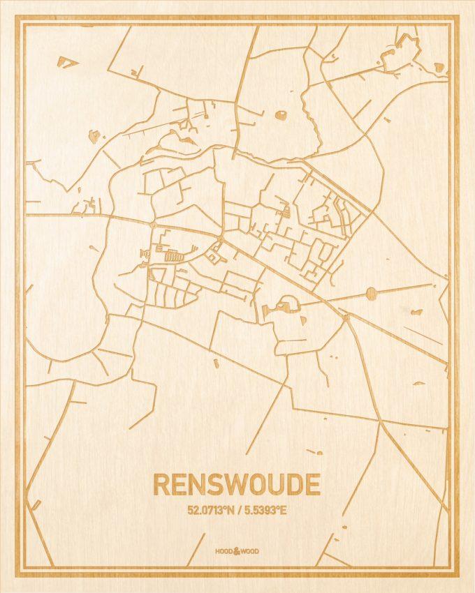 Het wegennet van de plattegrond Renswoude gegraveerd in hout. Het resultaat is een prachtige houten kaart van een van de charmantse plekken uit Utrecht voor aan je muur als decoratie.