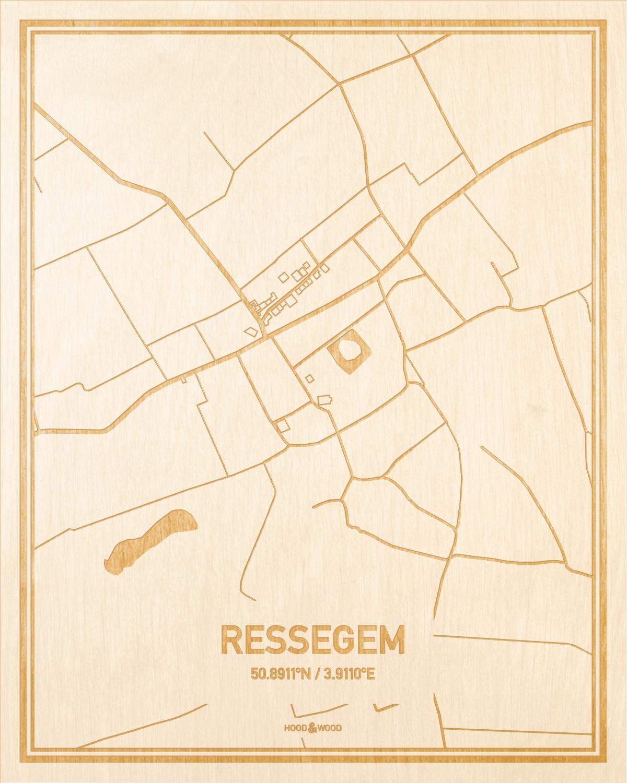 Het wegennet van de plattegrond Ressegem gegraveerd in hout. Het resultaat is een prachtige houten kaart van een van de gezelligste plekken uit Oost-Vlaanderen  voor aan je muur als decoratie.