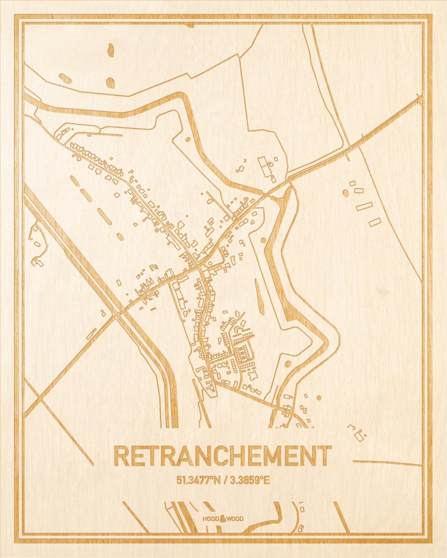 Het wegennet van de plattegrond Retranchement gegraveerd in hout. Het resultaat is een prachtige houten kaart van een van de leukste plekken uit Zeeland voor aan je muur als decoratie.