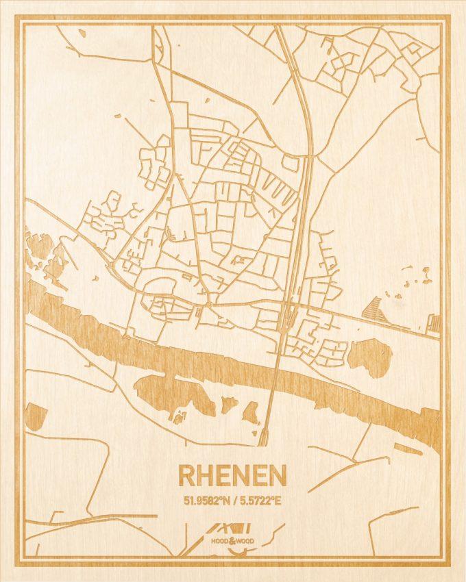 Het wegennet van de plattegrond Rhenen gegraveerd in hout. Het resultaat is een prachtige houten kaart van een van de leukste plekken uit Utrecht voor aan je muur als decoratie.