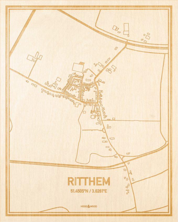 Het wegennet van de plattegrond Ritthem gegraveerd in hout. Het resultaat is een prachtige houten kaart van een van de gezelligste plekken uit Zeeland voor aan je muur als decoratie.