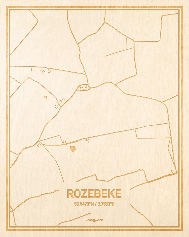 Het wegennet van de plattegrond Rozebeke gegraveerd in hout. Het resultaat is een prachtige houten kaart van een van de charmantse plekken uit Oost-Vlaanderen  voor aan je muur als decoratie.