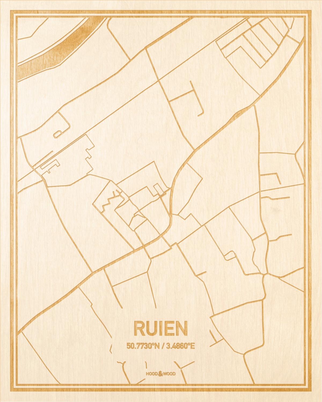 Het wegennet van de plattegrond Ruien gegraveerd in hout. Het resultaat is een prachtige houten kaart van een van de mooiste plekken uit Oost-Vlaanderen  voor aan je muur als decoratie.