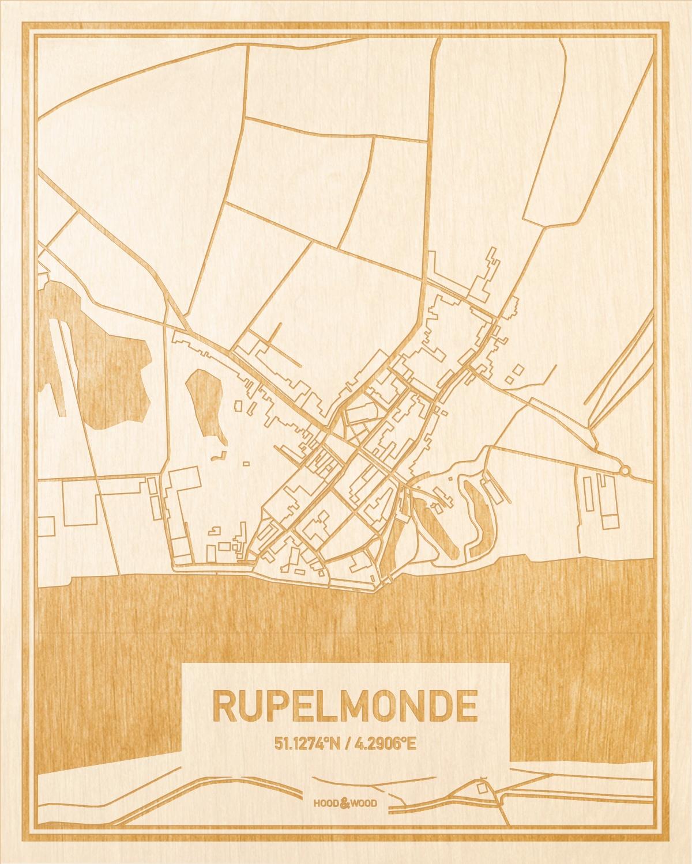 Het wegennet van de plattegrond Rupelmonde gegraveerd in hout. Het resultaat is een prachtige houten kaart van een van de leukste plekken uit Oost-Vlaanderen  voor aan je muur als decoratie.