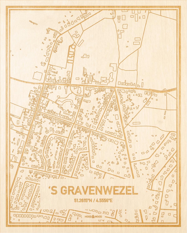 Het wegennet van de plattegrond 'S Gravenwezel gegraveerd in hout. Het resultaat is een prachtige houten kaart van een van de leukste plekken uit Antwerpen voor aan je muur als decoratie.