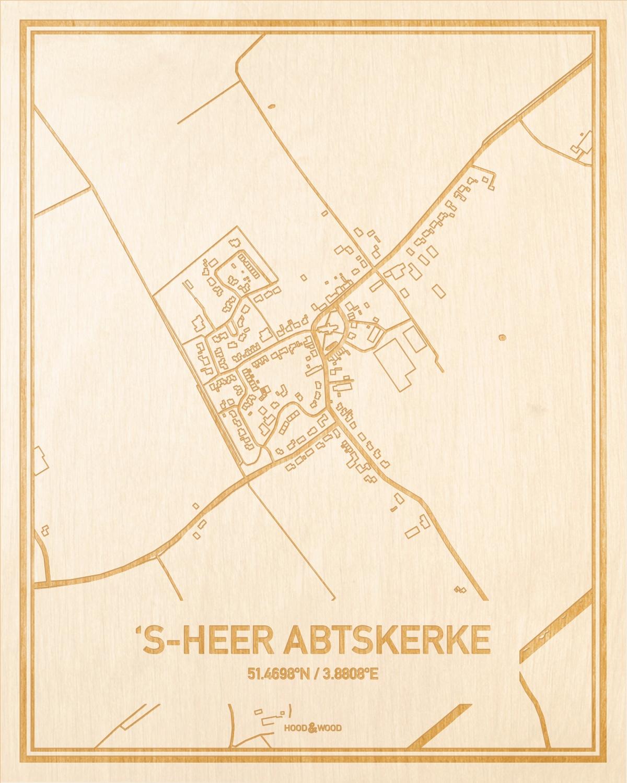 Het wegennet van de plattegrond 's-Heer Abtskerke gegraveerd in hout. Het resultaat is een prachtige houten kaart van een van de charmantse plekken uit Zeeland voor aan je muur als decoratie.