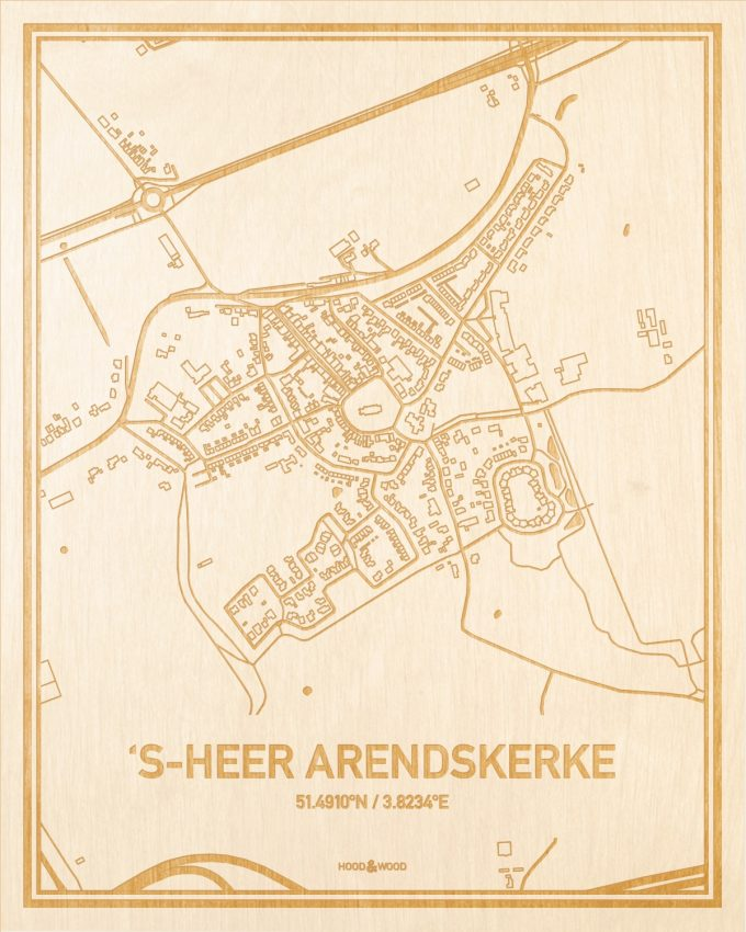 Het wegennet van de plattegrond 's-Heer Arendskerke gegraveerd in hout. Het resultaat is een prachtige houten kaart van een van de gezelligste plekken uit Zeeland voor aan je muur als decoratie.