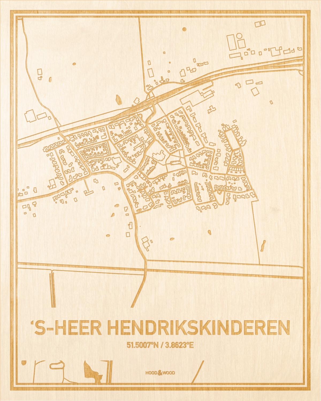Het wegennet van de plattegrond 's-Heer Hendrikskinderen gegraveerd in hout. Het resultaat is een prachtige houten kaart van een van de beste plekken uit Zeeland voor aan je muur als decoratie.