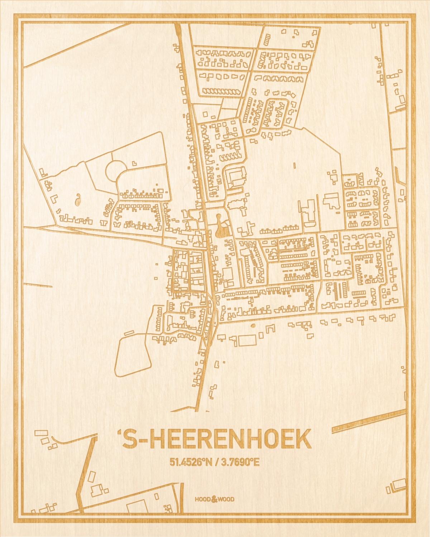 Het wegennet van de plattegrond 's-Heerenhoek gegraveerd in hout. Het resultaat is een prachtige houten kaart van een van de charmantse plekken uit Zeeland voor aan je muur als decoratie.