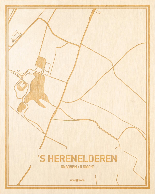Het wegennet van de plattegrond 'S Herenelderen gegraveerd in hout. Het resultaat is een prachtige houten kaart van een van de leukste plekken uit Limburg voor aan je muur als decoratie.
