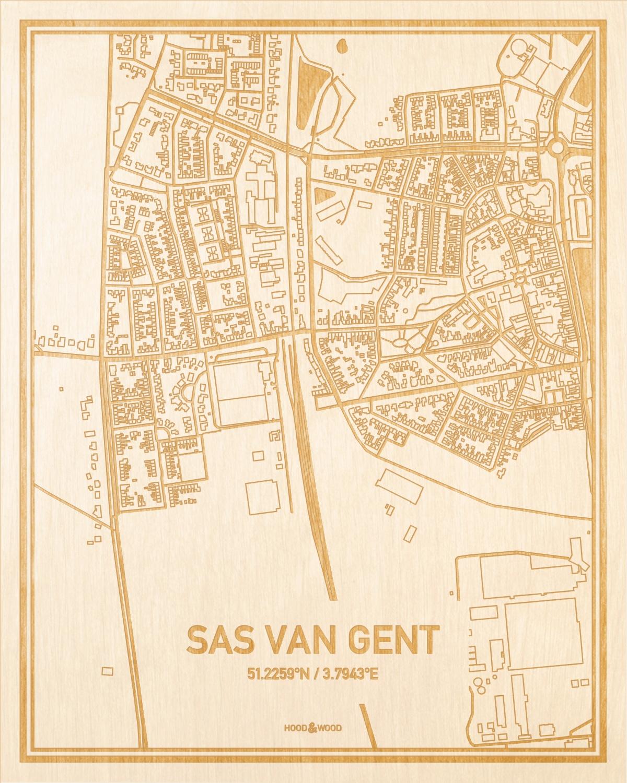 Het wegennet van de plattegrond Sas van Gent gegraveerd in hout. Het resultaat is een prachtige houten kaart van een van de mooiste plekken uit Zeeland voor aan je muur als decoratie.
