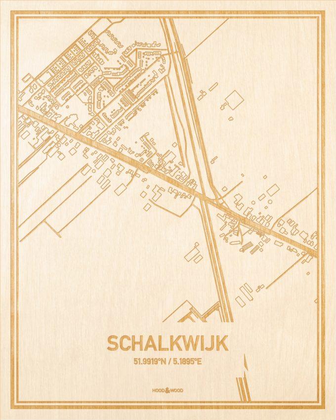 Het wegennet van de plattegrond Schalkwijk gegraveerd in hout. Het resultaat is een prachtige houten kaart van een van de beste plekken uit Utrecht voor aan je muur als decoratie.