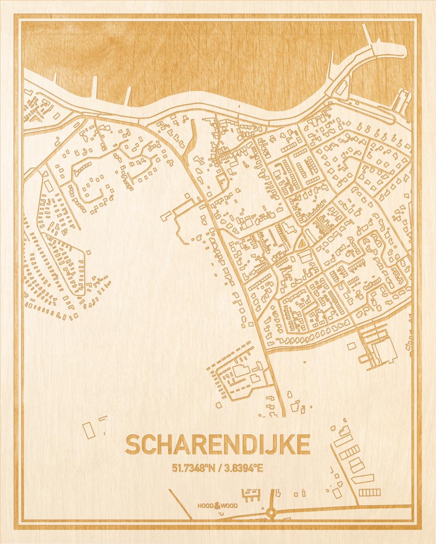 Het wegennet van de plattegrond Scharendijke gegraveerd in hout. Het resultaat is een prachtige houten kaart van een van de mooiste plekken uit Zeeland voor aan je muur als decoratie.