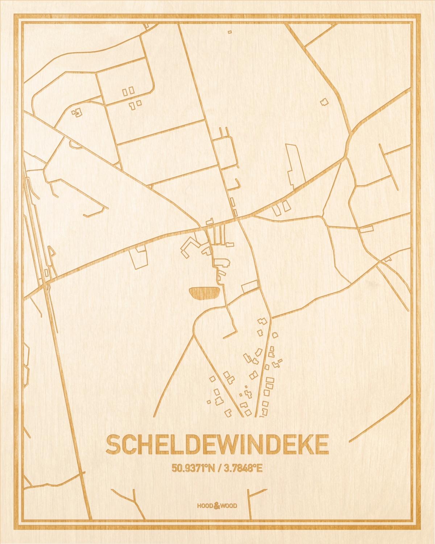 Het wegennet van de plattegrond Scheldewindeke gegraveerd in hout. Het resultaat is een prachtige houten kaart van een van de mooiste plekken uit Oost-Vlaanderen  voor aan je muur als decoratie.