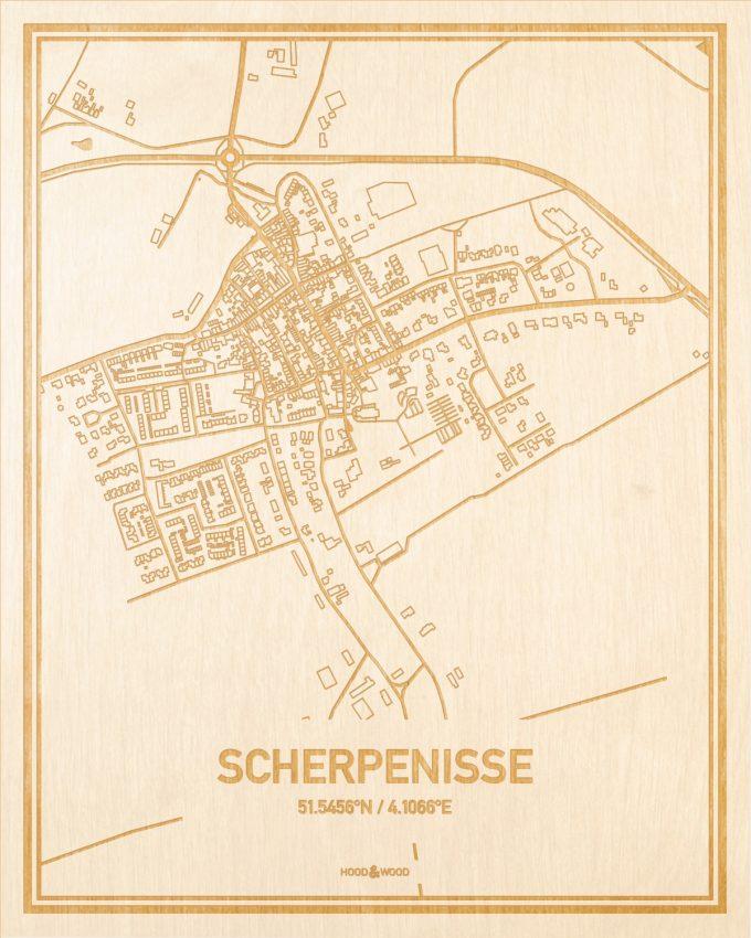 Het wegennet van de plattegrond Scherpenisse gegraveerd in hout. Het resultaat is een prachtige houten kaart van een van de gezelligste plekken uit Zeeland voor aan je muur als decoratie.