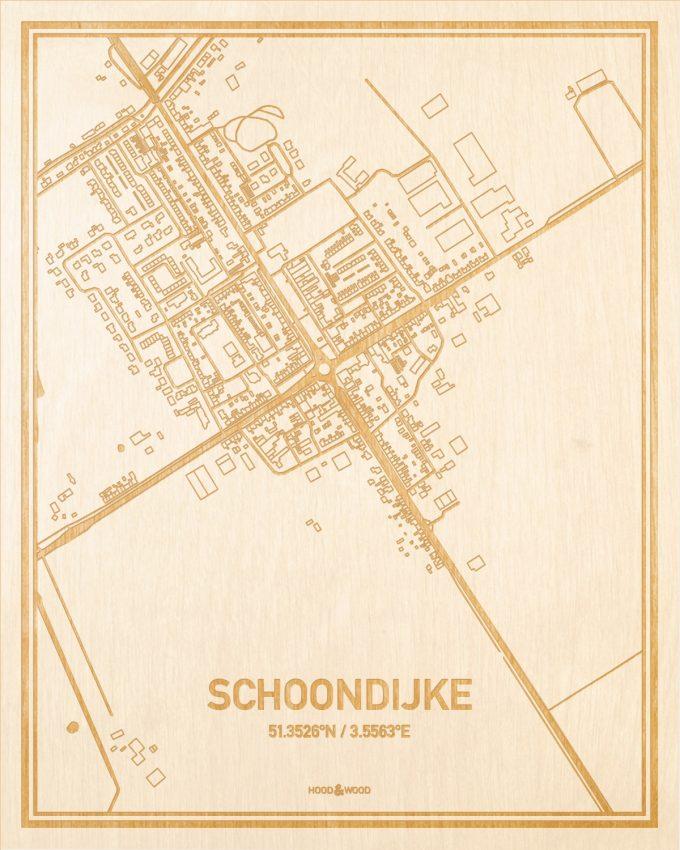 Het wegennet van de plattegrond Schoondijke gegraveerd in hout. Het resultaat is een prachtige houten kaart van een van de mooiste plekken uit Zeeland voor aan je muur als decoratie.