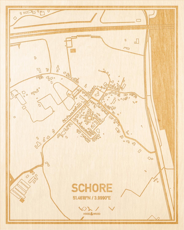 Het wegennet van de plattegrond Schore gegraveerd in hout. Het resultaat is een prachtige houten kaart van een van de gezelligste plekken uit Zeeland voor aan je muur als decoratie.