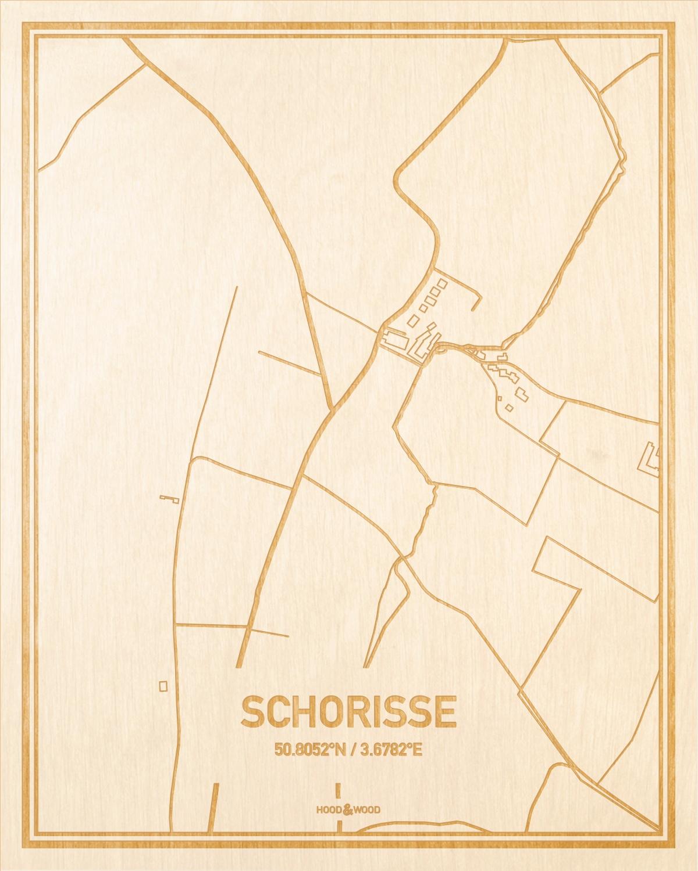 Het wegennet van de plattegrond Schorisse gegraveerd in hout. Het resultaat is een prachtige houten kaart van een van de leukste plekken uit Oost-Vlaanderen  voor aan je muur als decoratie.