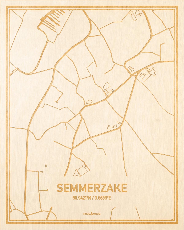 Het wegennet van de plattegrond Semmerzake gegraveerd in hout. Het resultaat is een prachtige houten kaart van een van de gezelligste plekken uit Oost-Vlaanderen  voor aan je muur als decoratie.