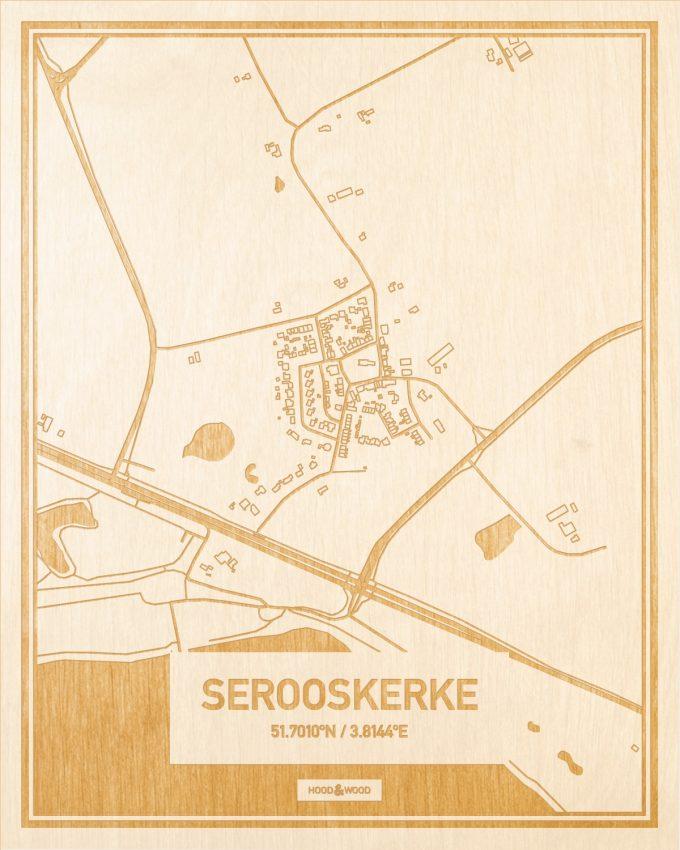 Het wegennet van de plattegrond Serooskerke gegraveerd in hout. Het resultaat is een prachtige houten kaart van een van de charmantse plekken uit Zeeland voor aan je muur als decoratie.
