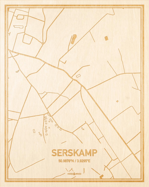 Het wegennet van de plattegrond Serskamp gegraveerd in hout. Het resultaat is een prachtige houten kaart van een van de mooiste plekken uit Oost-Vlaanderen  voor aan je muur als decoratie.