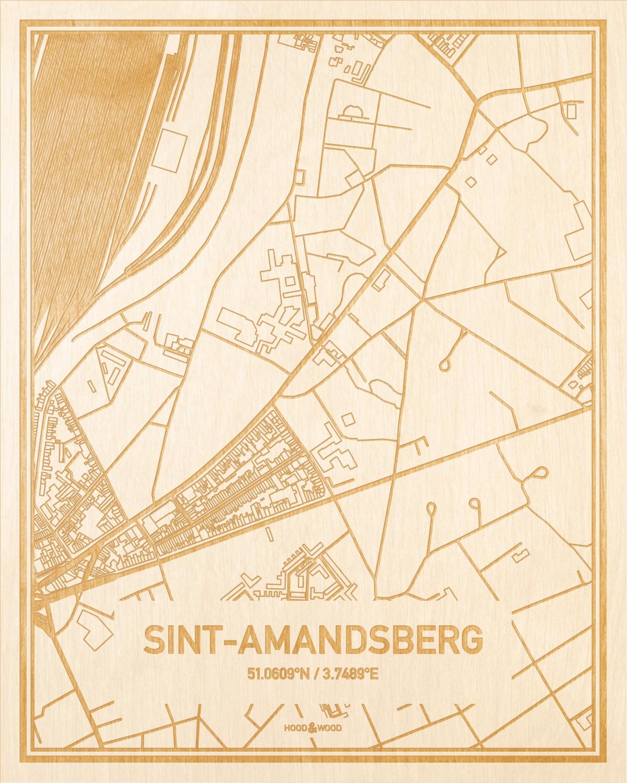Het wegennet van de plattegrond Sint-Amandsberg gegraveerd in hout. Het resultaat is een prachtige houten kaart van een van de mooiste plekken uit Oost-Vlaanderen  voor aan je muur als decoratie.