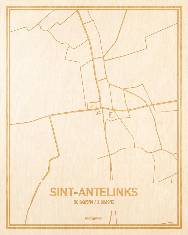 Het wegennet van de plattegrond Sint-Antelinks gegraveerd in hout. Het resultaat is een prachtige houten kaart van een van de mooiste plekken uit Oost-Vlaanderen  voor aan je muur als decoratie.