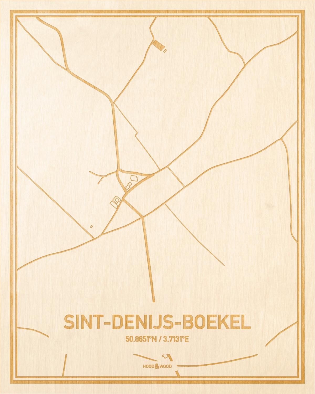 Het wegennet van de plattegrond Sint-Denijs-Boekel gegraveerd in hout. Het resultaat is een prachtige houten kaart van een van de gezelligste plekken uit Oost-Vlaanderen  voor aan je muur als decoratie.