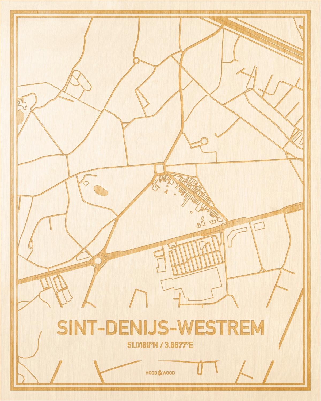 Het wegennet van de plattegrond Sint-Denijs-Westrem gegraveerd in hout. Het resultaat is een prachtige houten kaart van een van de charmantse plekken uit Oost-Vlaanderen  voor aan je muur als decoratie.