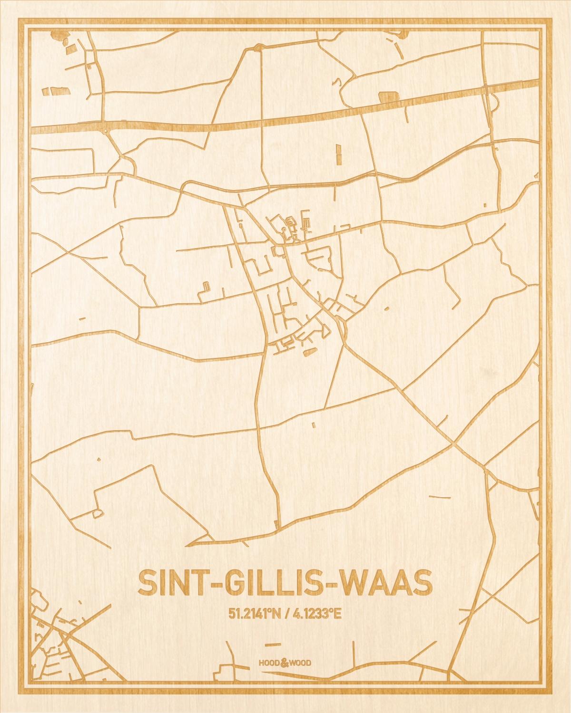Het wegennet van de plattegrond Sint-Gillis-Waas gegraveerd in hout. Het resultaat is een prachtige houten kaart van een van de mooiste plekken uit Oost-Vlaanderen  voor aan je muur als decoratie.