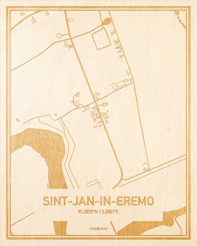 Het wegennet van de plattegrond Sint-Jan-In-Eremo gegraveerd in hout. Het resultaat is een prachtige houten kaart van een van de mooiste plekken uit Oost-Vlaanderen  voor aan je muur als decoratie.
