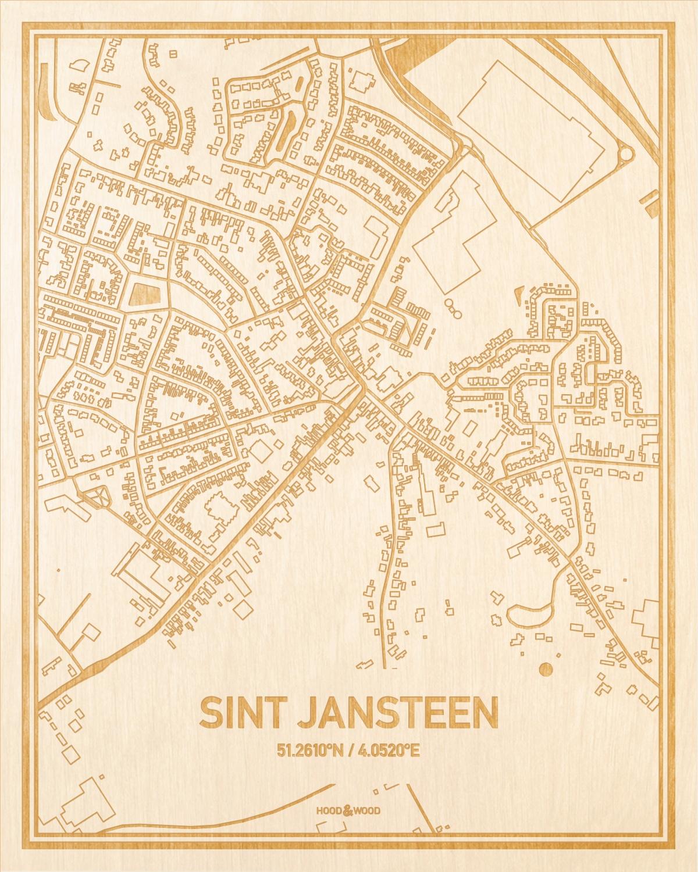 Het wegennet van de plattegrond Sint Jansteen gegraveerd in hout. Het resultaat is een prachtige houten kaart van een van de beste plekken uit Zeeland voor aan je muur als decoratie.