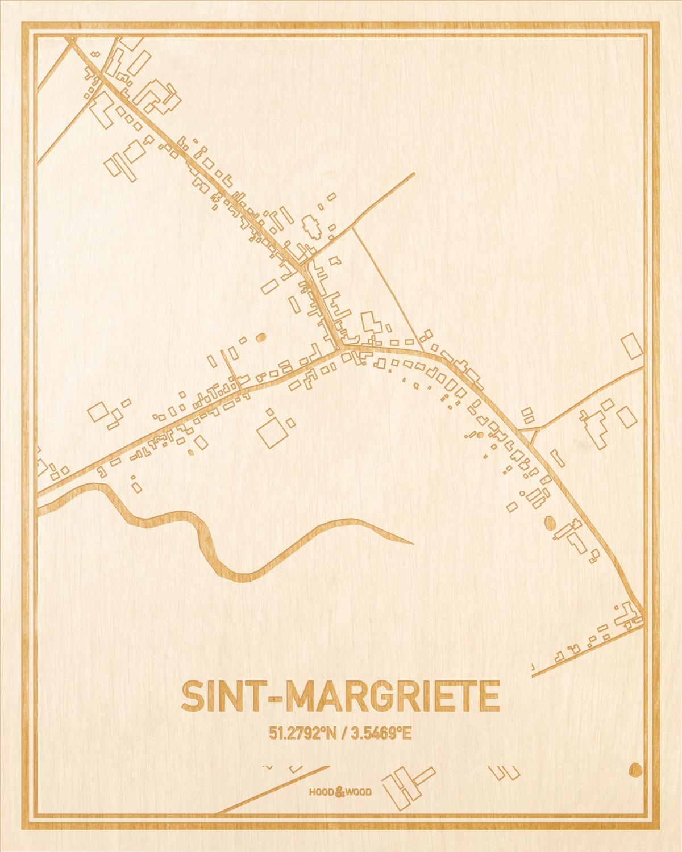 Het wegennet van de plattegrond Sint-Margriete gegraveerd in hout. Het resultaat is een prachtige houten kaart van een van de gezelligste plekken uit Oost-Vlaanderen  voor aan je muur als decoratie.