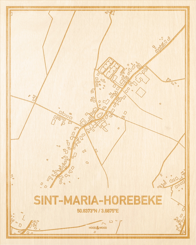 Het wegennet van de plattegrond Sint-Maria-Horebeke gegraveerd in hout. Het resultaat is een prachtige houten kaart van een van de leukste plekken uit Oost-Vlaanderen  voor aan je muur als decoratie.