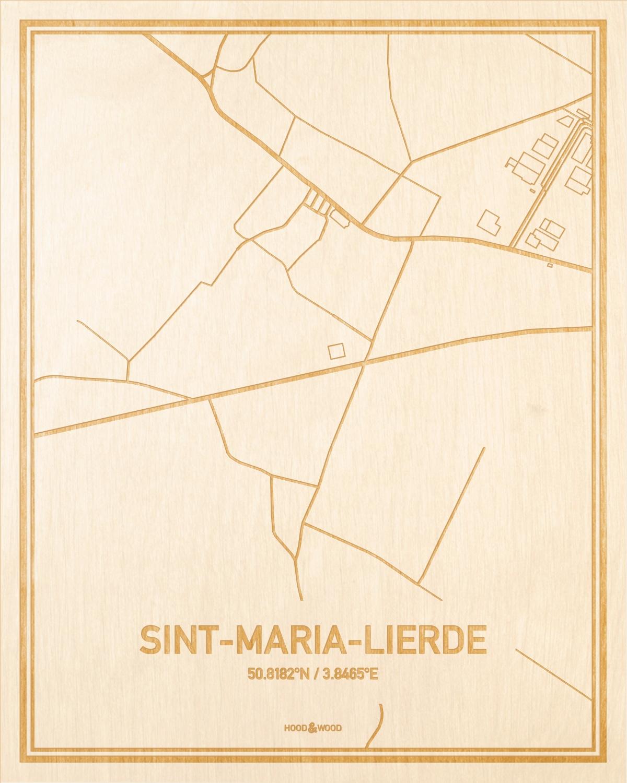 Het wegennet van de plattegrond Sint-Maria-Lierde gegraveerd in hout. Het resultaat is een prachtige houten kaart van een van de leukste plekken uit Oost-Vlaanderen  voor aan je muur als decoratie.