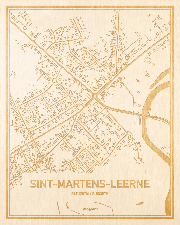 Het wegennet van de plattegrond Sint-Martens-Leerne gegraveerd in hout. Het resultaat is een prachtige houten kaart van een van de gezelligste plekken uit Oost-Vlaanderen  voor aan je muur als decoratie.