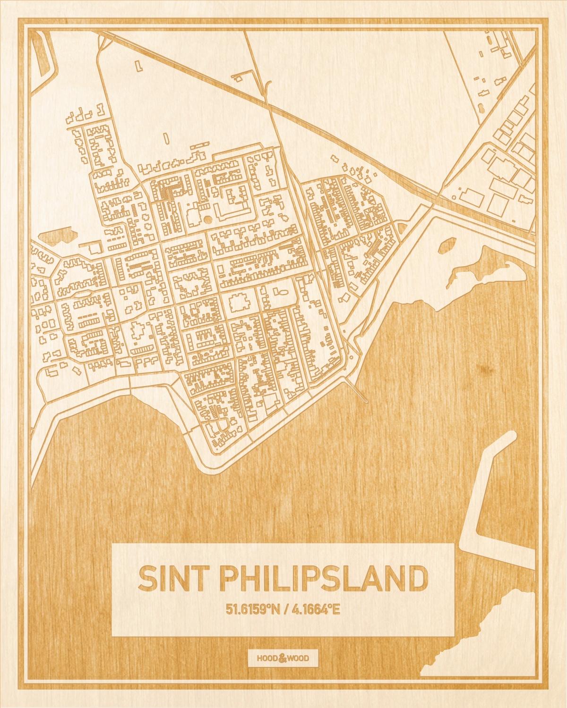 Het wegennet van de plattegrond Sint Philipsland gegraveerd in hout. Het resultaat is een prachtige houten kaart van een van de leukste plekken uit Zeeland voor aan je muur als decoratie.