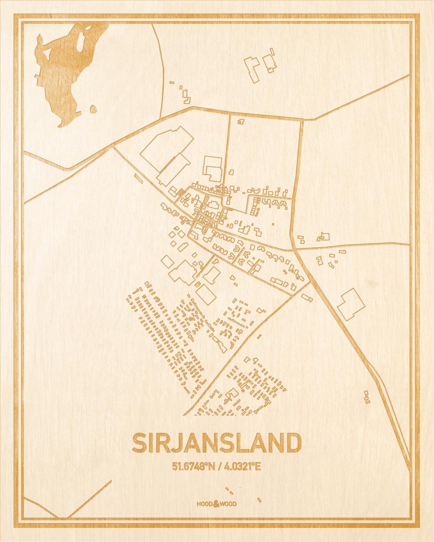 Het wegennet van de plattegrond Sirjansland gegraveerd in hout. Het resultaat is een prachtige houten kaart van een van de mooiste plekken uit Zeeland voor aan je muur als decoratie.